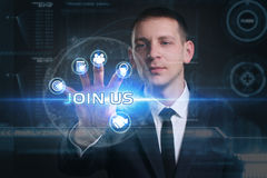 Geschäfts-, Technologie-, Internet- und Netzkonzept Junges busine stockbilder