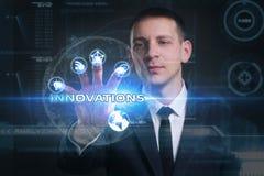 Geschäfts-, Technologie-, Internet- und Netzkonzept Junges busine Stockfotografie