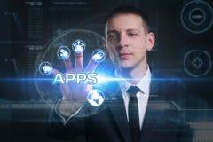 Geschäfts-, Technologie-, Internet- und Netzkonzept Junges busine Lizenzfreies Stockbild