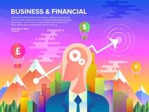 Geschäfts-u. Finanzflache Kunst lizenzfreie abbildung