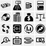 Geschäfts- u. Finanzvektorikonen stellten auf Grau ein. Lizenzfreies Stockfoto