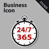 Geschäfts-Uhr-Ikone 24/7 365 Tage - Aufkleberaufkleber für Kunden S Lizenzfreies Stockbild