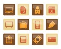 Geschäfts- und Büroikonen über braunem Hintergrund lizenzfreie stockbilder