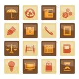 Geschäfts- und Bürointernet Ikonen über braunem Hintergrund stockfoto