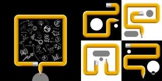 Geschäfts-und Bildungs-Schablone mit Bleistiften kurvte in unterschiedliches vektor abbildung