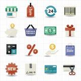Geschäfts- und Einkaufsikonen mit weißem Hintergrund Stockfotografie
