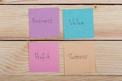 Geschäfts- und Erfolgskonzept - bunte klebrige Anmerkungen mit Wortgeschäft, Wert, Gewinn, Erfolg stockfotografie