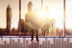 Geschäfts- und Finanzdiagramm auf unscharfem Hintergrund Handels-, Investitions- und Wirtschaftskonzept stockfotos
