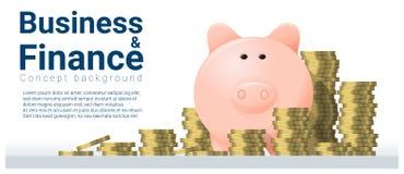Geschäfts- und Finanzkonzepthintergrund mit Sparschwein Stockbild