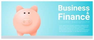 Geschäfts- und Finanzkonzepthintergrund mit Sparschwein Stockfoto