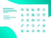 Geschäfts- und Managementikonensatz lizenzfreie abbildung