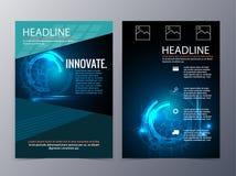 Geschäfts- und Technologiebroschüre entwerfen den dreifachgefalteten Schablonenvektor Stockfotos