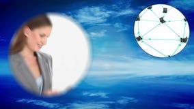 Geschäfts- und Zusammenhangmontage mit Kopie sperren Schirme stock video footage