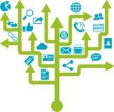 Geschäfts-Vernetzungs-Ikonen-Baum-Design Lizenzfreie Abbildung