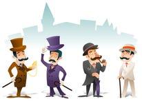 Geschäfts-viktorianischer Herr-Sitzungs-Zeichentrickfilm-Figur-Ikonen-gesetzter Englisch-Großbritannien-Stadt-Hintergrund-Retro-  Lizenzfreie Stockfotografie
