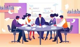 Gesch?fts-Vorstandssitzung von Direktor und von Angestellten lizenzfreie abbildung