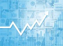 Geschäfts-Wachstums-finanziellbörse-Balkendiagramm-Diagramm Stockfoto
