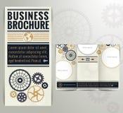 Geschäfts-Weinlese-Broschüren-Flieger-Design-Schablone Lizenzfreie Stockfotos