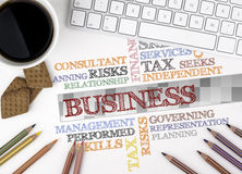 Geschäfts-Wort-Wolke Weißer Büroschreibtisch Lizenzfreie Stockbilder