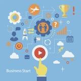 Geschäftsanfangs-infographics Schablone Entwurf mit Stockfoto