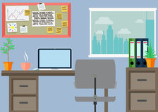 Geschäftsarbeitsplatz mit Bürosachen, Ausrüstung, Gegenstände Stockbilder