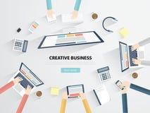 Geschäftsarbeitsplatz und flache Vektorillustration des Schreibtischs Stockfoto