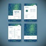 Geschäftsberichtschablone mit niedrigem Polyhintergrund Projektleiterbroschüren-Dokumentenplan für Firmendarstellungen Lizenzfreie Stockfotografie