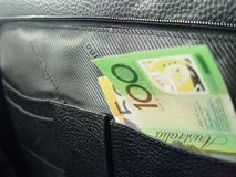 Geschäftsbeutel und -geld Lizenzfreies Stockfoto