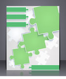 Geschäftsbroschüre mit Elementen von Puzzlespielen. Stockfotografie