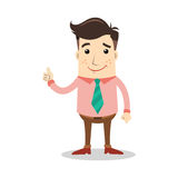 Geschäftscharakter mit dem Lächelnausdruck- und -showdaumen Stockbild