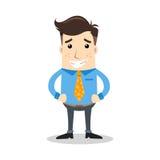 Geschäftscharakter mit Grimassenausdruck und orange Bindung Lizenzfreie Stockbilder