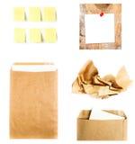 Geschäftscollage mit dem Recyclingpapierbuchstabeumschlag, klebrig nicht Stockbild