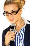 Geschäftsdame mit Mobile Stockbild
