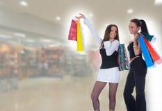 Geschäftsdameeinkaufen stockfotos