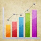 Geschäftsdiagramm auf Schmutzpapier-Beschaffenheitshintergrund Lizenzfreie Stockbilder