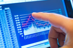 Geschäftsdiagramm auf Tablette Stockbild