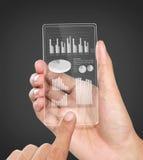 Geschäftsdiagramm-Finanzkonzept auf transparentem Schirm Stockbild