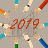 Geschäftsdiagramm mit dem Pfeil hoch und Symbol 2019, Erfolgskonzept und Wachstumsideenillustration Stock Abbildung