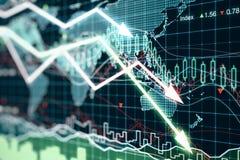 Geschäftsdiagramm mit glühenden Pfeilen und Weltkarte Stockfoto