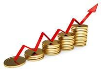 Geschäftsdiagramm mit goldener Münze Stockbilder