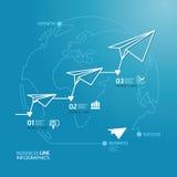 Geschäftsdiagramm-Papierflugzeuglinie Artschablone. Lizenzfreies Stockbild