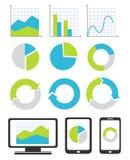 Geschäftsdiagramm- und -diagrammikonen Stockbilder
