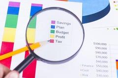 Geschäftsdiagramme und -zahlen Stockbilder