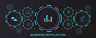 Geschäftsdigital-analog-wandlung - digitales Umwandlungskonzept Flache Designvektorfahne vektor abbildung