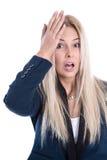 Geschäftsdruck: lokalisierte frustrierte recht junge blonde Frau Stockfotos
