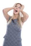 Geschäftsdruck: lokalisierte frustrierte recht junge Frau ist tou Stockfotografie