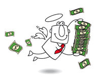 Geschäftsengel holt Geld Lizenzfreie Stockfotografie