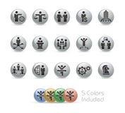 Geschäftserfolg-Ikonen -- Metallrunde Reihe Stockfotos