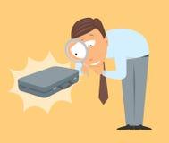 Geschäftsexperte, der einen Koffer analysiert Lizenzfreie Stockbilder