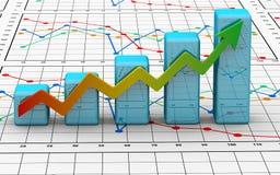 Geschäftsfinanzdiagramm, Diagramm, Stab, Grafik Stockfotografie